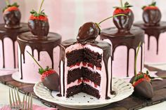 These Chocolate-Covered Strawberry Cakes are beautiful, romantic, and delicious! Chocolate cake with strawberry buttercream and a chocolate-dipped berry on top!