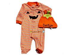 My First Halloween Little Pumpkin Sleep N' Play and Hat Set - Personalized with Baby Name, Costume, Outfit by ChewOnThisOrThat on Etsy