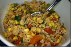 Daniel Fast Days 9 & 10: Salsa Rice!  Brown Rice, chickpeas, Rotel, corn, cilantro & seasonings.  Ready in under 20 minutes for a deliciously fresh dinner!