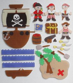 A Pirate's Life: ePattern for Print and Play Felt Figures by CopyCrafts | YouCanMakeThis.com