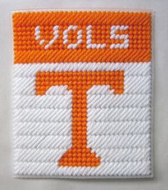 Tennessee Vols tissue box cover in plastic by AuntCCcreations, $2.00 Plastic Canvas Coasters, Plastic Canvas Ornaments, Plastic Canvas Tissue Boxes, Plastic Canvas Crafts, Plastic Canvas Patterns, Box Patterns, Perler Patterns, College Crafts, Yarn Storage