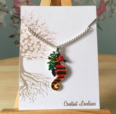 "Rainbow Seahorse Necklace - Digitally Drawn Plastic Necklace on a 16"" silver plated chain Life Aquatic inspired Crayon Ponyfish"