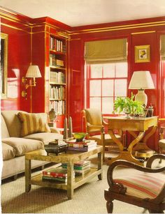 From striking red walls to delicate tracery, this collection of red decor is sure to inspire. Red Interiors, Beautiful Interiors, Tadelakt, Living Spaces, Living Room, Red Rooms, Interior Decorating, Interior Design, Interior Ideas