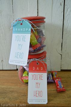 hero free father's day printables at tatertots and jello. I like it for the massage for papa.... Every hero deserves a day of rest and relaxation