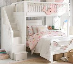 girl room bunk and color style Fillmore Stair Loft Bed & Lower Bed Set Kids Bunk Beds, Treehouse Loft Bed, Bed Linens Luxury, Kid Beds, Bed For Girls Room, Bed, Bedding Sets, Dream Rooms, Bedroom Design