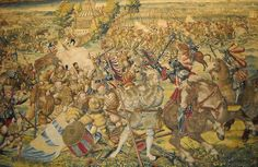 """Tapestry: """"Battle at Pavia between Francis I, King of France, and Emperor Charles V"""" (1525) - Bruxelles manufacture - cartoon of Bernart von Orley (1526-1531, Naples, musée de Capodimonte... #tapestry #tapisserie #Pavie #FrancoisIer"""