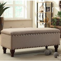 Bench Upholstered Storage Seat Ottoman Furniture Bedroom Entryway Living Rooms #Unbranded