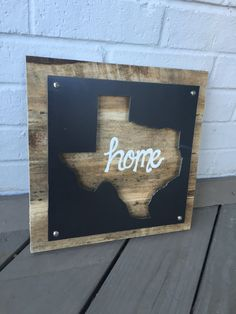 Texas decor, Home Sign, Reclaimed Wood and Metal Sign, Pallet Wood Sign, Hand lettered, Industrial wall art, Rustic Wall hanging by AshesandOak on Etsy