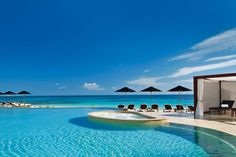 Poolside at the Rosewood Mayakoba hotel in Mexico