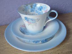 Antique 1920's Shelley china tea cup trio blue by ShoponSherman