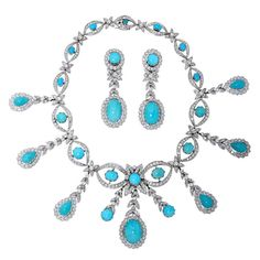Turquoise Diamond Gold Necklace and Earrings Set | From a unique collection of vintage more necklaces at https://www.1stdibs.com/jewelry/necklaces/more-necklaces/