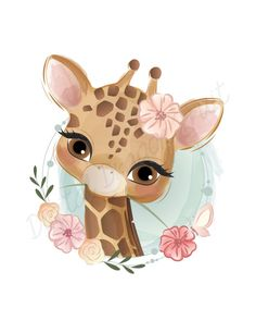 Cartoon giraffe with colorful balloons illustration Illustration Mignonne, Cute Illustration, Illustration Pictures, Baby Animal Drawings, Cute Drawings, Baby Animals, Cute Animals, Safari Animals, Art Mignon