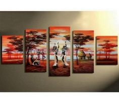 100% Hand Painted Artwork African Painting Girl Dancing 5 Piece Wall Art Oil Painting Modern Art Canvas Art Gallery Wrapped Stretched and Ready to Hang by Paintingworld, http://www.amazon.com/dp/B00B9QRV4W/ref=cm_sw_r_pi_dp_cucYrb0AG5JNY