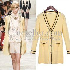 ChicSeller Yellow Long Sleeve Knitting Cardigan
