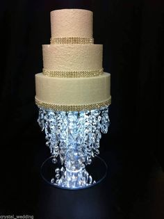 Crystal 4 tier chandelier cake stand 29999 via etsy silvery crystal chandelier wedding cake stand premium glass crystal 6 8 10 12 14 ebay aloadofball Choice Image