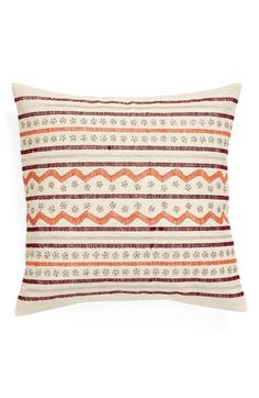 Nordstrom at Home 'Leilani' Pillow Accent Pillows, Decorative Throw Pillows, Family Room, Nordstrom, Beige, Pure Products, Embroidery, Cotton, Home Decor