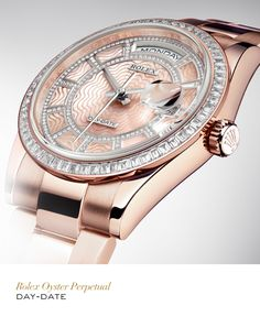 The Rolex Day-Date 36 mm in Everose gold with a bezel set with baguette-cut diamonds, a diamond-set pink mother-of-pearl carousel dial and Oyster bracelet. #Festive #RolexOfficial      For more information regarding this timepiece, please be sure to visit http://www.cdpeacock.com/.