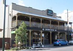 The Crown Hotel, Argyle Street Camden NSW. Photo: Kathleen Wallington. More pubs: www.timegents.com Camden Nsw, Argyle Street, Hotels, Street View, Crown, Contemporary, Outdoor Decor, Corona, Crowns