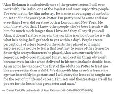 Daniel Radcliffe on the death of Alan Rickman