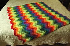 Rippled Rainbow Crochet Blanket Free Pattern