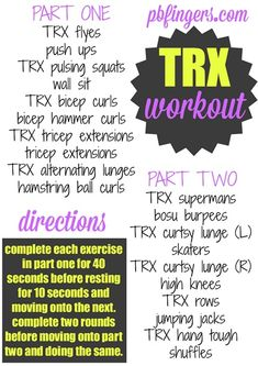 This morning, I am planning to complete the following workout, which is the same workout I'm going to teach to my TRX class: