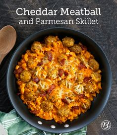 A skillet dinner packed with Colby Jack cheese, meatballs and bacon makes for an easy weeknight meal that everyone at the table will love. A dash of hot sauce gives this dish the right amount of heat!