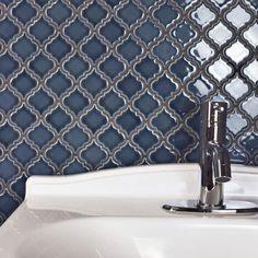 SomerTile Antaeus Denim Blue Porcelain Mosaic Floor and Wall Tile sqft.) (case - antaeus denim blue porcelain), Size 12 x 12 Mosaic Wall, Mosaic Tiles, Wall Tiles, Glass Tiles, Tiling, Bathroom Wallpaper Navy, Navy Bathroom, Online Tile Store, Tiles Online
