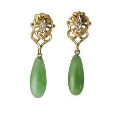 Vintage 14K Gold Jade and Diamond Pierced Earrings, c. 1970s. $795