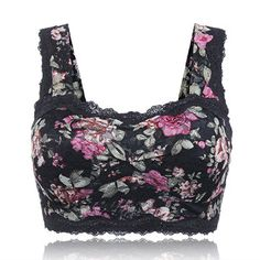 Sexy Floral Printing Lace Hem Bras Breathable Wireless Vest Bra
