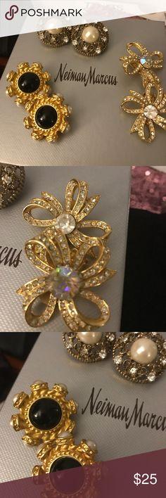 Price Drop😊Earrings 3 in set Pearls onyx crystals Earrings Vintage 3 pairs in set. Pearls crystals onyx/black. 2 pair clip 1 pearl pair pierced Bijou Jewelry Earrings