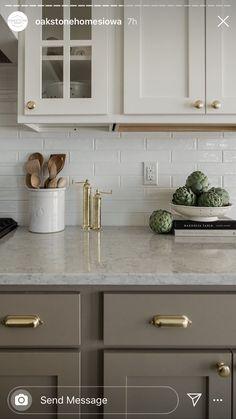 Kitchen Cabinet Colors, Kitchen Redo, Home Decor Kitchen, Kitchen Interior, Home Kitchens, Kitchen Remodel, Kitchen Dining, Taupe Kitchen Cabinets, Updated Kitchen