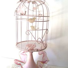 Pink Shabby Chic Birdcage. WeddingCard Holder. Paper Birdies. French shabby Chic Decor from 3VintageHearts. $49.99, via Etsy.