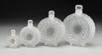 Set of Four Lalique Frosted and Enameled Glass Dahlia Perfumes Post 1945. Engrave