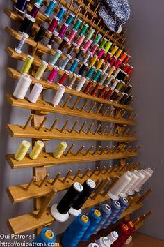 porte-bobines, récupération, bois, sommier, bobines, chevilles, création, alsapapa
