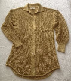 Vintage Gold Metallic Crocheted Sweater by Elaris by BarbeeVintage, $24.00