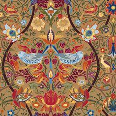 Brown Allover  Birds William Morris Design Patchwork Fabric