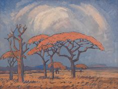 Jacob Hendrik Pierneef (South African, 'Springbok Flats, scene near Warm Baths' Landscape Illustration, Children's Book Illustration, Book Illustrations, South African Artists, Stone Mosaic, Natural History, Landscape Paintings, Art Projects, Trees