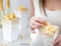 Nicest Things: New Year's Eve DIY Ideas, Silvester, Konfetti, Popcorn Box, White, Gold