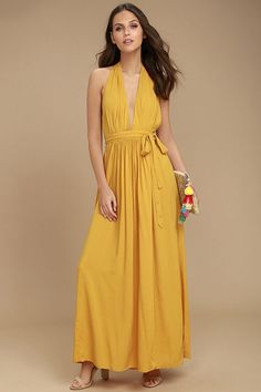 Each step and sway in the Magical Movement Mustard Yellow Wrap Maxi Dress will bring a compliment your way! Woven dress has a wrapping bodice and skirt. Yellow Maxi Skirts, Mustard Yellow Dresses, Yellow Lace, Best Maxi Dresses, Dresses For Teens, Casual Dresses, Bride Dresses, Long Dresses, Casual Wear