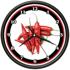 RED CHILI PEPPERS Wall Clock kitchen hot chef new gift ** Details can be found by clicking on the image. (This is an affiliate link) Wall Clock Gym, Best Wall Clocks, Red Kitchen Walls, Grandfather Clocks For Sale, Chili Party, Red Chili Peppers, Kitchen Wall Clocks, Outdoor Light Fixtures, Outdoor Lighting