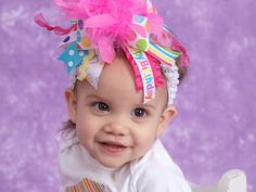 Over The Top Birthday Bow -- Birthday Sweetie -- hot pink, turquoise, yellow, Happy Birthday ribbon. $19.95, via Etsy.