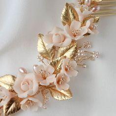 NECTAR blush and gold wedding headpiece
