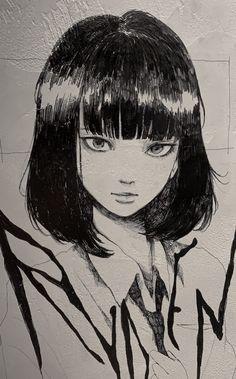 Anime Drawings Sketches, Anime Sketch, Cute Drawings, Indie Drawings, Pencil Art Drawings, Art Manga, Anime Art Girl, Dark Anime Girl, Pretty Art