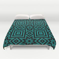 Faded Teal Pattern Duvet Cover by Lyle Hatch - $99.00