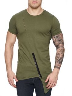 K&D Men Asymmetrical Zipper Long T-shirt - Army Green