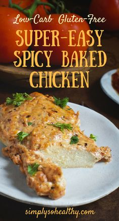 This Super Easy Spicy Baked Chicken recipe makes a delicious main course! This chicken dish has a creamy but spicy sauce that can be enjoyed by people on low-carb ketogenic lc/hf Atkins diabetic gluten-free grain free and Banting diets. Keto Foods, Ketogenic Recipes, Diet Recipes, Cooking Recipes, Healthy Recipes, Ketogenic Diet, Yam Recipes, Cleaning Recipes, Diet Meals