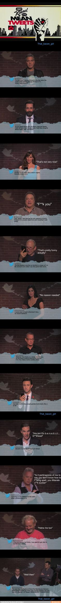 Celebrities reading mean tweets about themselves, reactions r the best especially Matt damons
