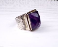 Artisan Sterling Silver Mod Statement Raw Amethyst Gemstone Ladies Size 7.5 Ring #Laxmi #Statement #MothersDay