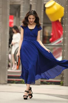 Royal Blue Maxi Chiffon Dress Oversize Women Dresses Sexy V-Neck Bridesmaid Dress Summer Prom Dress Evening Dress -WH153 ,S,L,XL,XXL