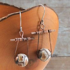 Copper Tibetan Agate Earrings, Earthy Beads, Tribal, Boho, Rustic Hammered Texture